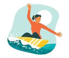 mulher desfrutar de atividades ao ar livre com a prancha de surf. vetor