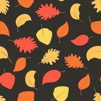 folhas de outono brilhantes em um padrão sem emenda de fundo escuro vetor