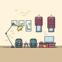 design plano, conceito de interior de sala de estar com mobília. vetor