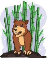 urso zangado no vetor de bambu