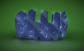 Tipografia 3D - mirtilo, vetor