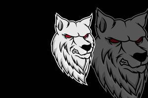 modelo de equipe de logotipo de esporte e cabeça de raposa branca vetor