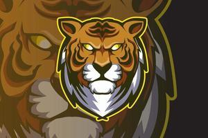 mascote tigre cabeça para esportes e vetor