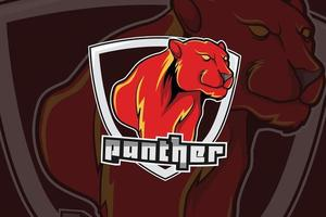 logotipo da pantera para esportes e esportes esportivos isolado em fundo escuro vetor