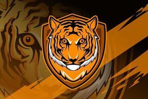 logotipo do mascote do tigre principal para jogos eletrônicos vetor