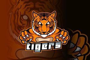 logotipo do tigre para esportes e esportes esportivos isolado em fundo escuro vetor