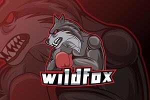 modelo de logotipo do time de e-sports de raposa selvagem vetor