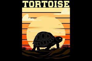 tartaruga design retro vintage vetor
