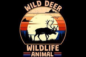 veado selvagem vida selvagem animal retro design vintage vetor