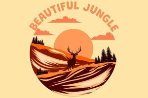 belo design retro vintage da selva vetor