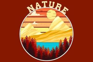 design retro vintage da natureza vetor