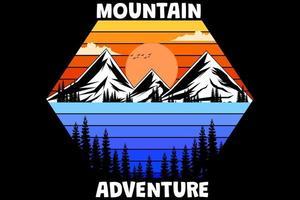aventura na montanha design retro vintage vetor