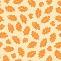 Outono sem costura padrão com folhas de carvalho vetor