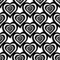 padrão sem emenda de corações de doodle desenhado de mão. isolado no branco vetor