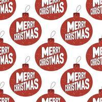 padrão sem emenda, bolas de árvore de natal com neve, feliz natal vetor