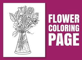 página para colorir de flores. desenho de página para colorir. vetor