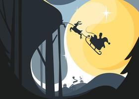 Papai Noel voando no trenó com renas no céu noturno. banner de natal. vetor