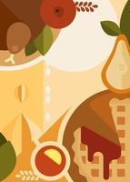 cartaz abstrato com jantar de ação de Graças. design de cartaz de férias. vetor