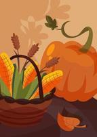 cartaz com cesta de milho e abóbora. design de cartão postal de ação de Graças. vetor