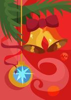 cartaz com bola da árvore de Natal e sinos. design de cartão postal de férias. vetor
