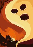 cartaz com fantasma no fundo do castelo. desenho de cartão postal de halloween. vetor