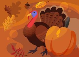 banner com a Turquia e a abóbora. design de cartão postal do dia de ação de Graças. vetor