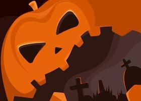 banner com cabeça de abóbora gigante e cemitério. desenho de cartaz de halloween. vetor
