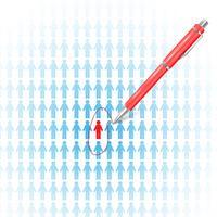 Pesquisando trabalho / empregado com uma caneta vetor