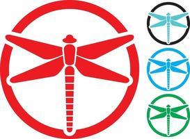 ícones de sinal de libélula vetor