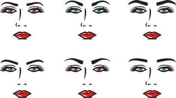 várias formas de conjunto de sobrancelhas vetor