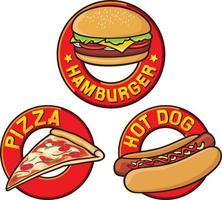 coleção de rótulos de fast food vetor