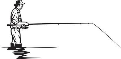 desenho de ícone de pescador vetor