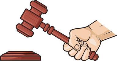 martelo de madeira do juiz vetor