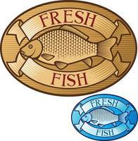 etiqueta de peixe fresco vetor