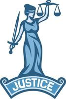 uma etiqueta de deusa da justiça vetor