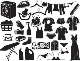 coleção de ícones de lavanderia vetor