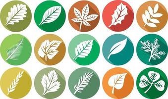 coleção de ícones plana de folha vetor