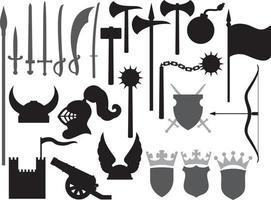 ícones de armas medievais vetor
