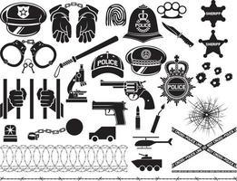 conjunto de ícones policiais vetor