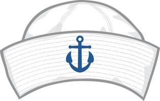 chapéu de marinheiro com âncora azul vetor
