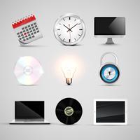 Conjunto de ícones realistas de escritório, vetor