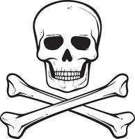 caveira com ossos cruzados vetor