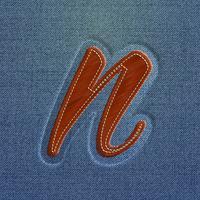 Personagem feita por denim, de um tipo de letra, vetor