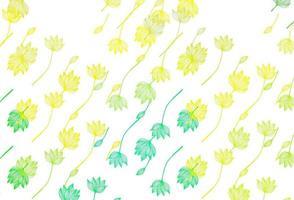 fundo pintado à mão do vetor verde e amarelo claro.