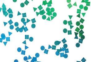modelo de vetor azul claro, verde com cristais, círculos, quadrados.