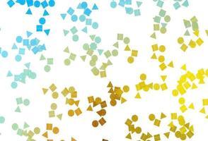 padrão de vetor azul claro, amarelo em estilo poligonal com círculos.