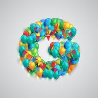 Fonte colorida feita por balões, vetor