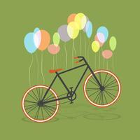 Bicicleta pendurada em balões, vetor