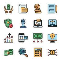 ícones de linha colorida de negócios e finanças vetor