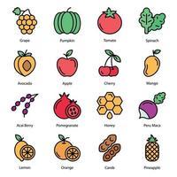frutas e vegetais linha colorida vetor
